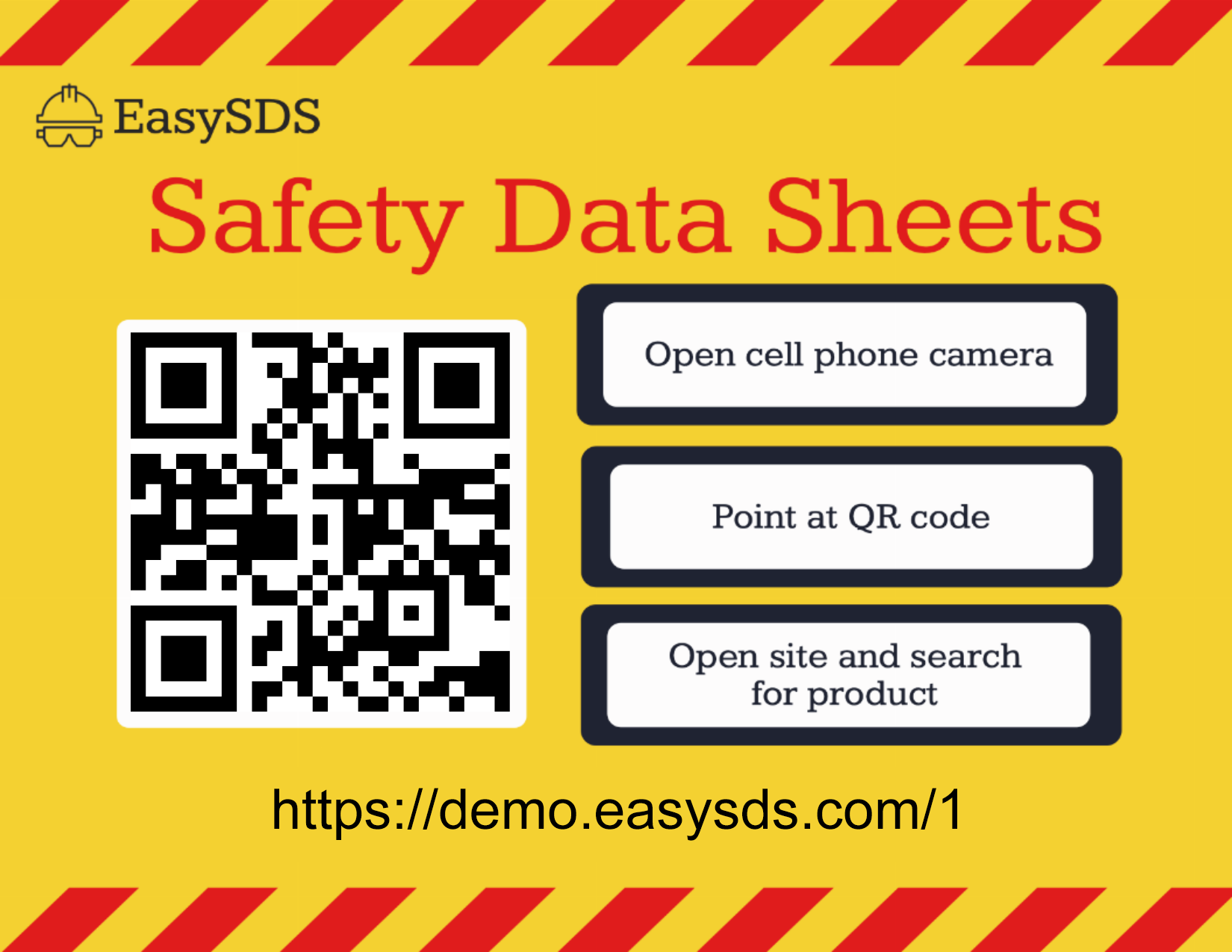 View of a custom sign with a QR code and instructions for accessing your digital safety data sheets using your mobile devices.